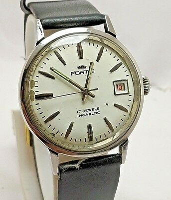 Rare Vintage Swiss Made Fortis White Dial Hand-Winding 17J Wrist Watch Men's