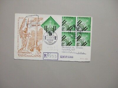 Spain 1959 registered fdc with five same stamps.One block of four stamps