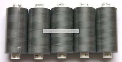 5 X REELS MID GREY MOON POLYESTER SEWING THREADS COTTON 120s ( 112 )
