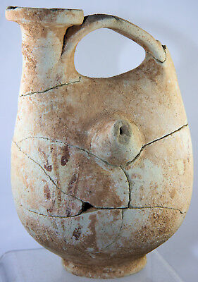 Ancient Punic painted pottery askos / feeder, collected in Carthage in 1903