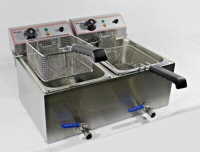 32L Electric Countertop Double Fryer with Oil Drain Tap Commercial  3KW+ 3KW 13A
