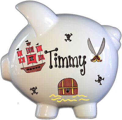 Large ceramic piggy bank,perfect for baby shower gift and birthday gift, pirate