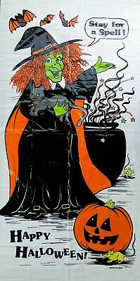 "Happy Halloween ""STAY FOR A SPELL"" Witch 30 x 60 Door Wall Cover FREE SHIPPING"
