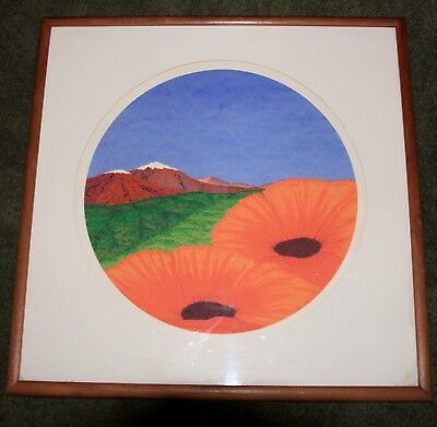 """Neil Korpi Signed Serigraph of Snow Capped Mountains and Poppies Framed 23""""x23"""""""