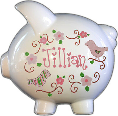 Large ceramic piggy bank,perfect for baby shower gift and birthday gift,lovebird