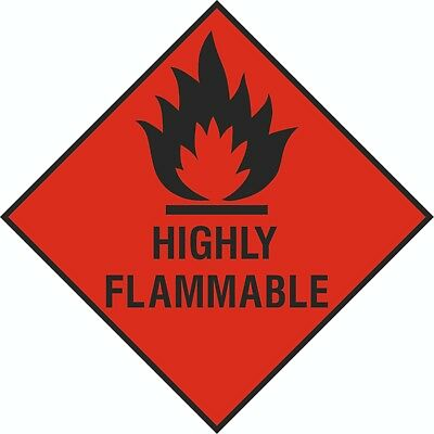 4x 100mm x 100mm Health and Safety Hazard Sticker Flamable Sticker Red