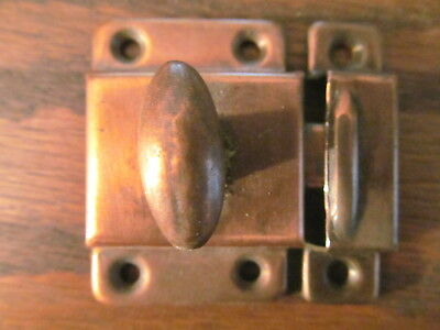 Vintage Copper Finish Hoosier Latch Handle Catch Lock Set Door Cabinet