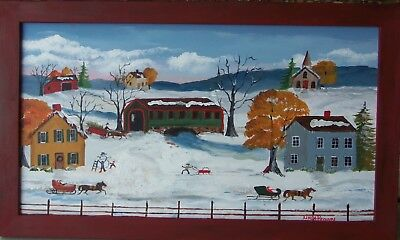 """Country Winter"" folk art painting by Linda Brown"