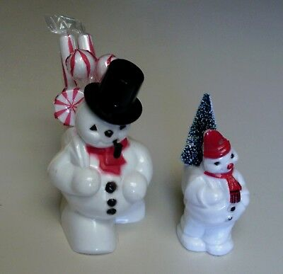 2 Vintage plastic Christmas Candy Containers Snowman with Pipe & Snowman red hat