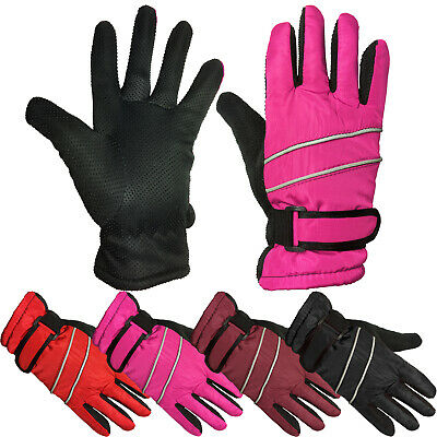 Thermal Windproof Fleece Lined Girls Winter School Ski Gloves With Gripper Palms