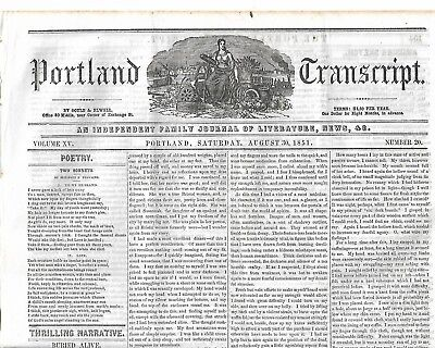 Treaty With The Sioux Indians In The Minnesota Territory.  1851 Newspaper