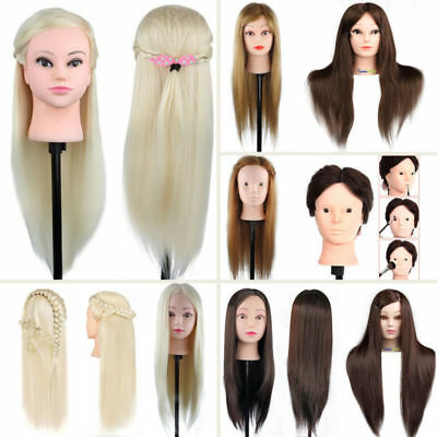 100% Real Human Hair Hairdressing Head Training Mannequin Doll Makeup+Clamp DIY
