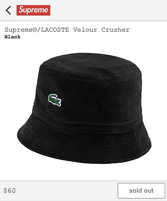 SUPREME X LACOSTE Velour Crusher Bucket Hat ss18 Black S M -  125.00 ... d53a7ab6f58