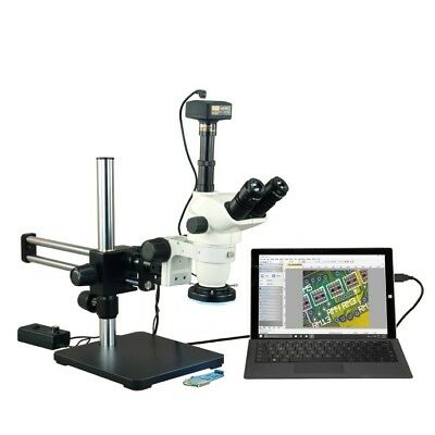 6.7-45X Zoom Boom Stand Microscope+144LED Ring Light+14M High Resolution Camera
