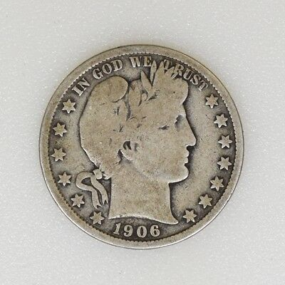 1906-P GOOD Condition Barber Silver Half Dollar Nice Color - I-14776 G