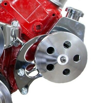 BB Chevy BBC Chrome Saginaw Power Steering Pump Kit W/ Bracket Pump & Pulley