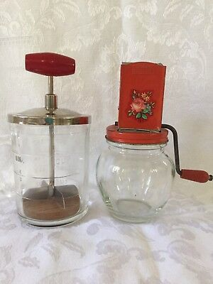 2 Vintage Food Chopper and Spice Grinder, Red Wood Handles, Anchor Hocking Glass