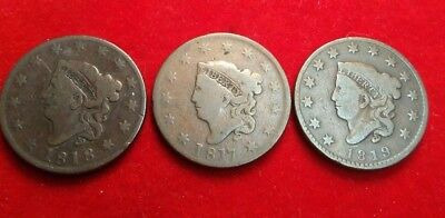 (3) coin lot Matron Head large cents 1817, 1818, 1819