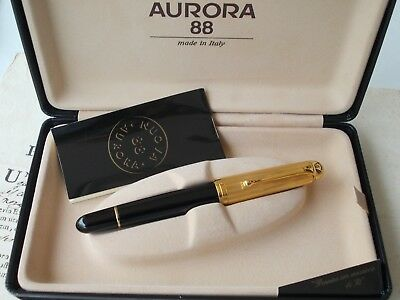 Aurora 88 M801, Gold Plated Cap Fountain Pen - Flexible Long Tip Nib - Big Size