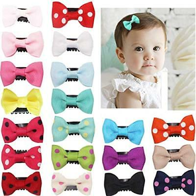 20Pcs Tiny Baby Hair Clips for Fine Hair Boutique Grosgrain Ribbon Hair Bows For
