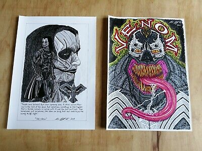 "Set of 2 Unframed A3 ink drawing's ""The Crow"" & ""Venom"" tattoo graphic art"