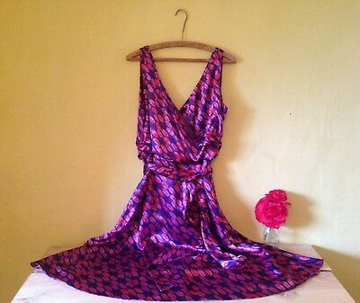 Size 18 purple pink spotted vintage retro 50's look belted ribbon a line dress