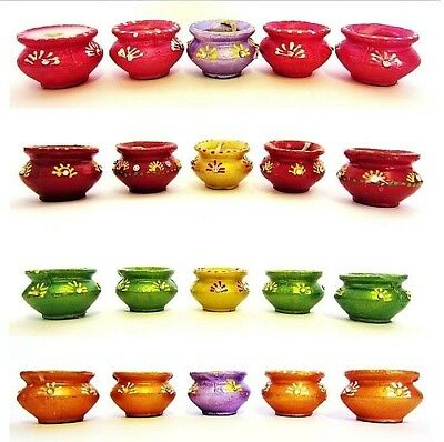 ***Diwali Set of 5 Small Traditional Diya Diva in Belly Shape with wax*****