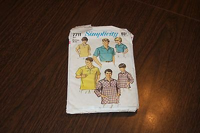 Vintage Simplicity Mens Shirt Patterns Sewing Pattern Sz Medium 7711 AS IS '68