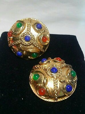 Oversized Vintage Etruscan Byzantine Gripoix Glass Jewels Of India Earrings