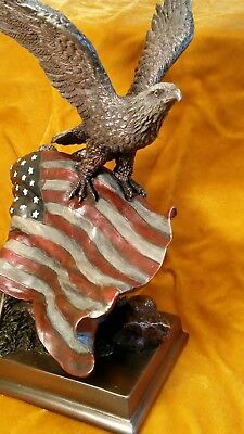 "Flying BALD EAGLE With ""OLD GLORY"" American Flag BRONZE Electroplated Figurine"
