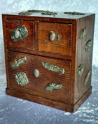 Japanese wooden table chest cabinet with applied Menuki Lovely warm patina