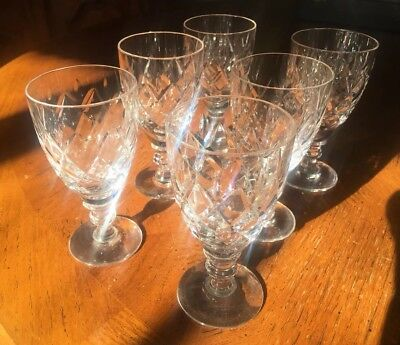 Beautiful Design Cut Glass Crystal Sherry/ Port Glasses Set Of 6