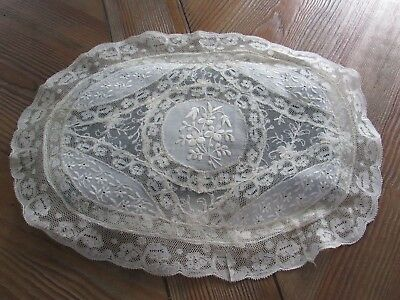 Antique French Normandy Lace Oval Boudoir Pillow Cover