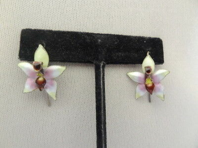 Vintage CHINESE EXPORT Silver & Enamel ORCHID Pierced Earrings