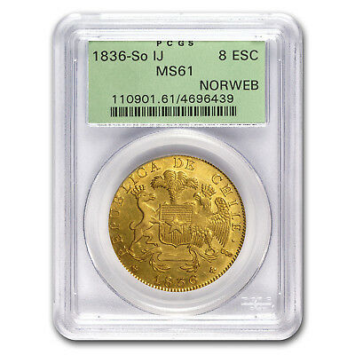 1836-So IJ Chile Gold 8 Escudos MS-61 PCGS - SKU#176179