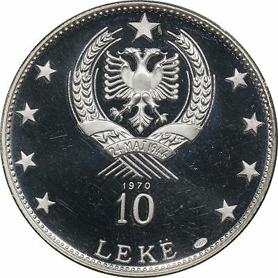 1968 Albania Silver 10 Leke, KM# 50.3, 33.33 gm, .999 Pure only 500 Struck Proof