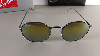 8102a3a2ae Authentic Ray-Ban Round RB3447 029 93 50 Gunmetal Yellow Mirror Flash  Sunglasses