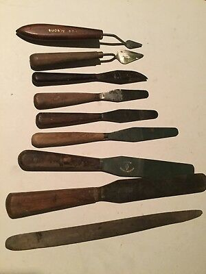 Lot Of Rare Vintage Artists Palette Knives Various Styles 9 Inc Wooden