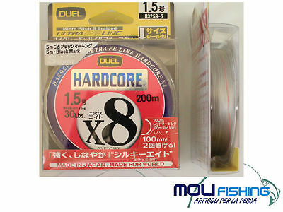 Multifiber Braided Line Duel Hardcore X 8 -200 M-Silver-Diameter Choice-