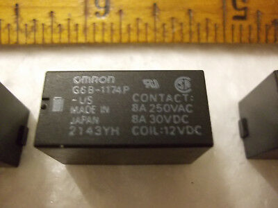 Omron G6B-1174P Relay, 12V coil, 8A/250VAC 8A/30VDC, lot of 3