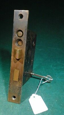 VINTAGE READING HARDWARE DOUBLE KEY ENTRY MORTISE LOCK w/KEY 6 7/8 (11141)