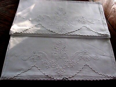 Vintage Pair Heavy Cotton English Embroidered Pillow Cases