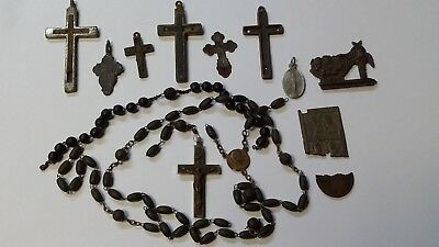 Set of 7 Ancient Christian religion crosses, pieces of bronze medallions, icons.
