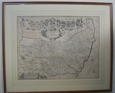 Suffolk: antique map by Johan Blaeu, 1645 and later
