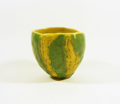 "Gorka Livia, Green & Yellow Retro Cactus Holder 4.3"", 1950's Art Pottery !"