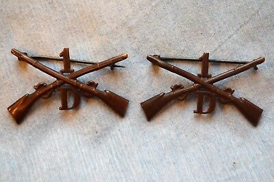 """Pair of 1902 1st Infantry Company """"D"""" Officer's Collar Insignia"""