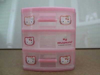 Vintage 1998 Sanrio HELLO KITTY Pink Plastic SET of 3 DRAWERS Japan
