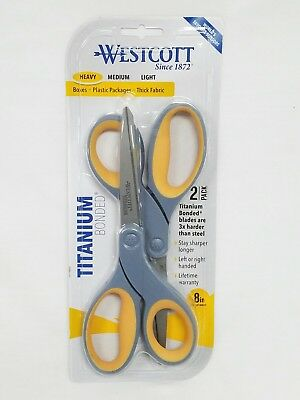 "Westcott 8"" Titanium Bonded Heavy Scissors 2 Pack New Cuts Boxes Plastic Fabric"