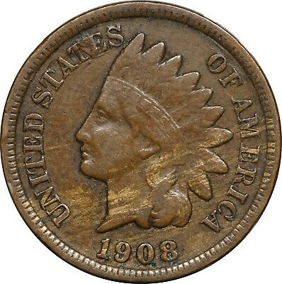 1908-S Indian Head Cent 1c, Fine F
