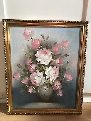 Lovely Signed Oil Painting On Board Of Roses In Ornate Gold Frame
